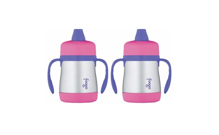 Thermos Foogo Vacuum Insulated 7oz Sippy Cup w/Handles(Pink/Purple)2pk 7caf618b-c6f0-4822-931a-635a2fe9c30a