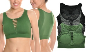 Angelina Seamless Sports Bras with Cutout Center Front (3-Pack)