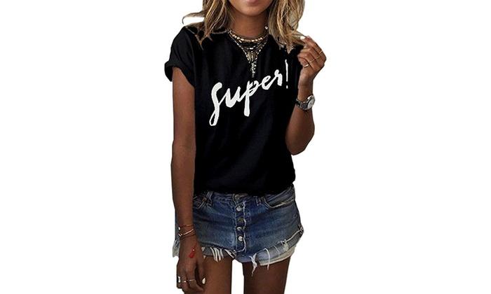 1454935f614 Haola Women s Summer Street Printed Tops Funny Juniors T Shirt Short Sleeve  Tees