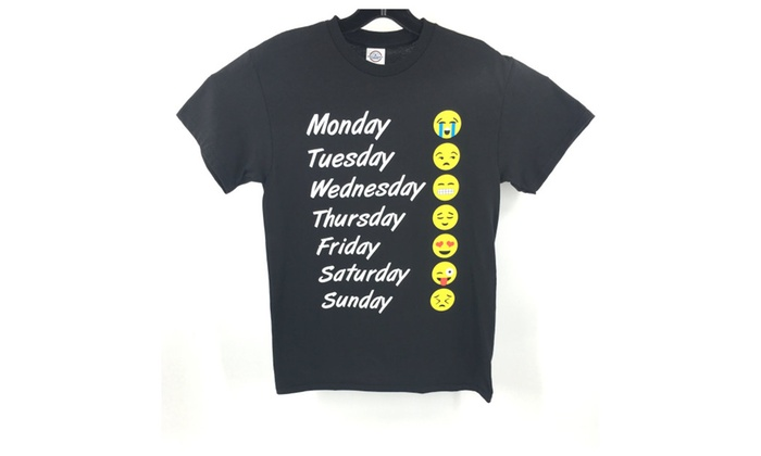 Emoji 7 weekdays mood t-shirt unisex