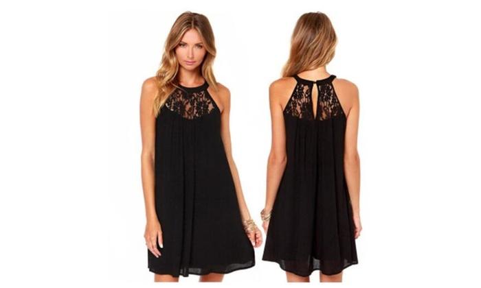 Women's Sleeveless Lace Patchwork Loose Casual Mini Chiffon Dress