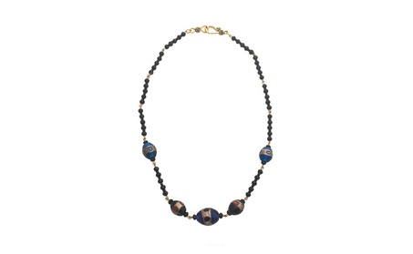 Blue and Brown Blown Glass Linked Black Bead Handmade Necklace 60336f4d-f4ff-4c71-97a4-342211545a5d