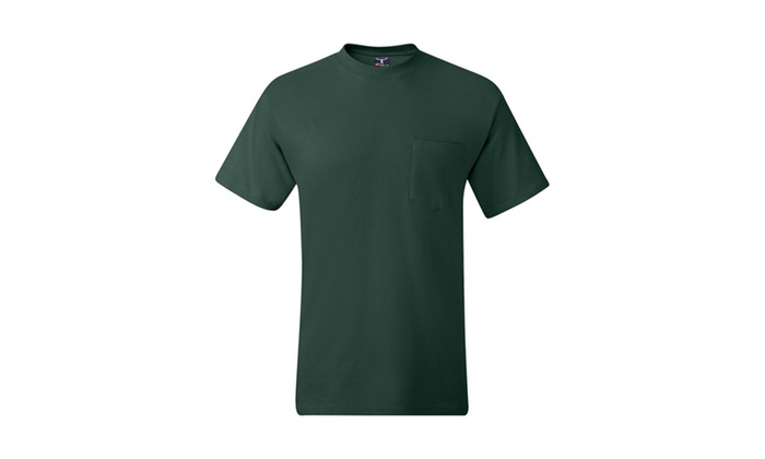 Hanes Short-sleeve Beefy-T Pocket T-Shirt, 5190 Deep Colors