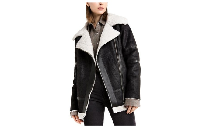 Women's Casual Solid Zip Closure Faux Leather Coats