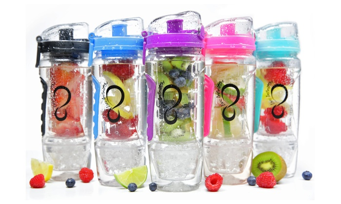 32 Oz Infusion Water Bottle Featuring Reusable Gel Freezer Ball