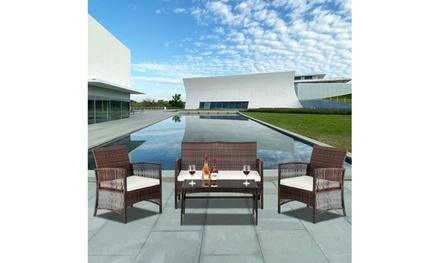 4-piece outdoor patio furniture set Combination Sofa brown gradient