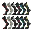 Go fashion Men's Argyle Diamond Dress Socks Multi Color (12 Pack)