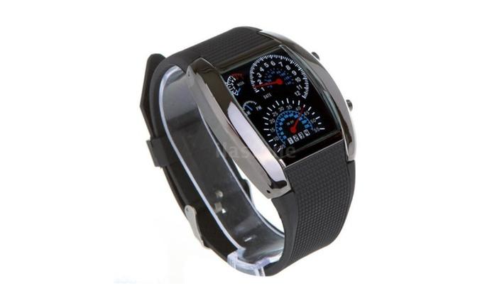 Pro Mens Womens Black Rubber Racing Blue Light Sport Watches