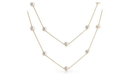 Bling Jewelry Cultured Pearl Tin Cup Gold Plated Silver Necklace 4a576a2a-3ead-4c67-b922-bcb745203690