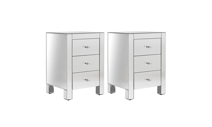2 PCS Mirrored Nightstand 3 Drawer Modern Mirror End Table Cabinet ...