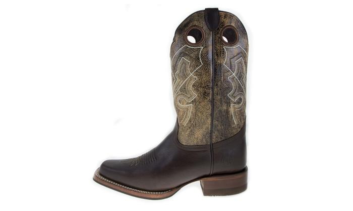 4c3868e5b56 ReyWelt Men's Brown Square Toe Western Boot   Groupon