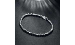 Sleek Silver Mini Beads Graduated Bracelet