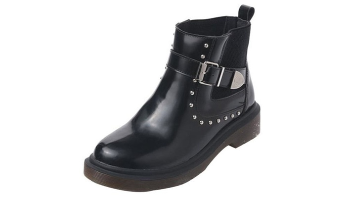 Women's Rivet PU Slip on Martin Boots