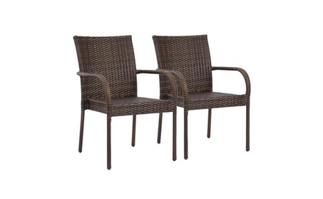 Patio Outdoor Wicker Set of 2 Stackable Dining Chairs b60db9d8-084f-4fe7-ae71-f71fd49f1ac0
