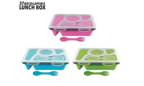 37 Oz Collapsible 4 Compartment Lunch Box- BLUE, GREEN, PINK 7c03b7aa-b170-42e4-b305-16299e12fd9b