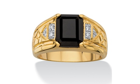 Men's Genuine Onyx 18k Gold-Plated Ring 3bee131d-e902-417a-902e-30c6edc0e86f