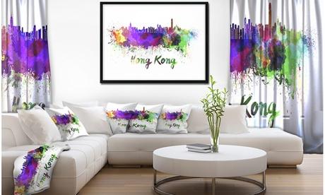 Hong Kong Skyline - Cityscape Framed Canvas Artwork Print e5aebfb0-6a9f-48fc-b9df-3715c74e791a