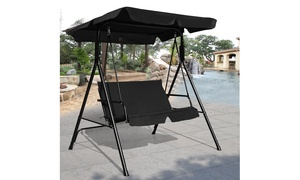Costway Swing Glider Patio Canopy Cushioned Loveseat with Steel Frame