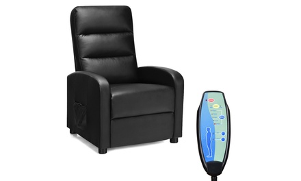 Costway Modern Remote Control Electric Massage Recliner Sofa Chair Lounge Black