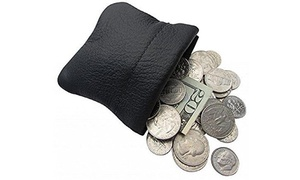 Classic Leather Squeeze Coin Purse change Holder For Men, Pouch size 3.5 X 3.5""