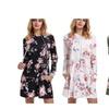 Women's Floral Print Drawstring Hoodie Dress Above knee Mini