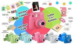 Fujifilm instax mini 9 Instant Film Camera w/ Massive 15 PC Accessory Kit Bundle