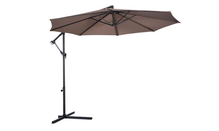 Outdoor Patio Umbrella 10u0027 FT Hanging Pool Deck Sun Tent Rain Shelter ...