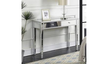 2 Drawer Bedroom Furniture Glass Dressing Mirrored Vanity Makeup Table