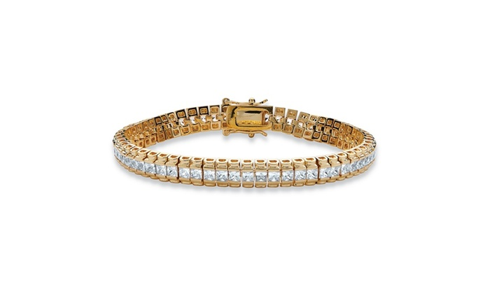 9 12 Tcw Cz Tennis Bracelet In 14k Gold Plated Groupon
