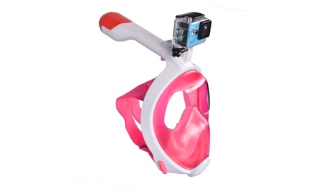 Snorkel Mask with Go pro Mount Anti Fog Snorkeling Gear Easy Breath - Pink / L/XL 8f5c2f04-a2ad-4f27-842b-c4ae543791cc