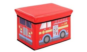 Kids Toy Box Kids Storage Bench, Vinyl Fire Truck Toy Chest