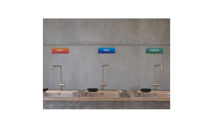 image regarding Wash Rinse Sanitize Printable Signs known as 12-Pack Clean Rinse Sanitize Labels for 3 Compartment Sink