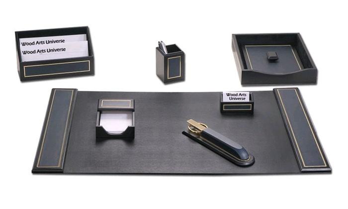 Navy Blue Leather 24 Karat Gold Tooled 7 Piece Desk Set Waucustd50040