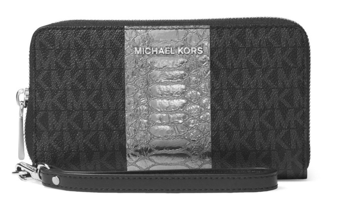 9ada61898afc Michael Kors Money Pieces Travel Continental Wristlet - Black ...