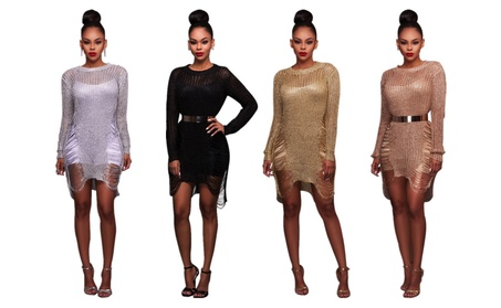Women's Sexy Long Sleeve Hollow Out Cover Up Club Beach Dress 35c2b9d1-5b84-437d-9f5e-00498a06f967