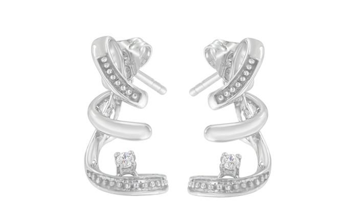 10k White Gold 0 05 Cttw Round Cut Diamond Earrings H I