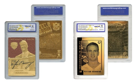 Set of 2 Gold Cards Peyton Manning Colts Feel The Game and Laser Line Gem-Mint ead9f59d-8f64-4625-9749-31cc55a5560a