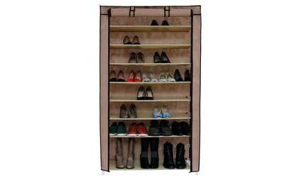 shop groupon 10 tiers shoe rack with dustproof cover closet shoe storage cabinet organizer - Closet Shoe Rack