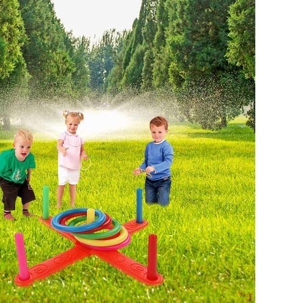 Outdoor Kids Quoits Play Set Children Garden Game Hoop Ring Toss Garden Fun Toy