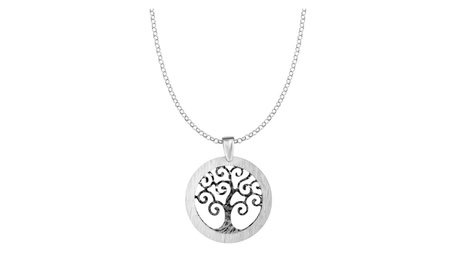 "Silver 18"" with Rhodium Chain Diamond Cut Textured Round Tree of Life 3eb15c91-f068-4291-99c5-43f89786258c"