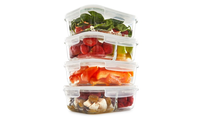 850a30e2cec7 1 & 2 Compartment Glass Meal Prep Food Storage Containers 35 Oz 4 ...