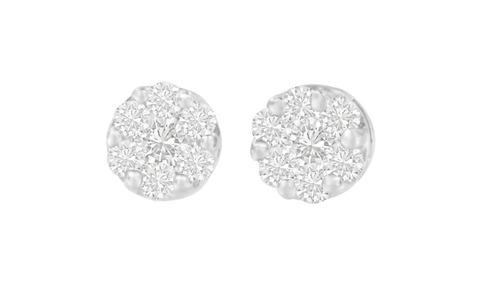 14k White Gold 1 4ct Tdw Round Cut Diamond Earrings H I