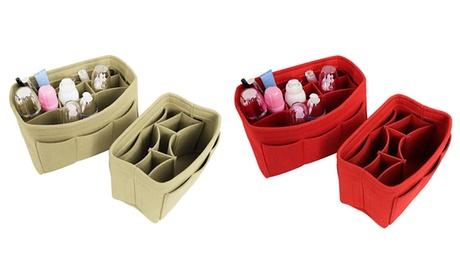 Travel Cosmetics Insert Handbag Skin Care Storage Box Organizer Folding Felt Bag