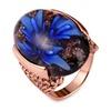 Blue Flower Lampwork Glass Stone Big Women's Ring