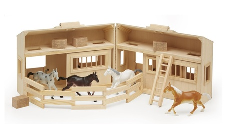 Melissa & Doug Fold and Go Wooden Horse Stable Dollhouse 5f4e2552-5395-4100-83e0-1ac42a9f9f19