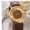 Women Fashion Brown PU Leather Analog Glitter Dial Clock Wristwatch