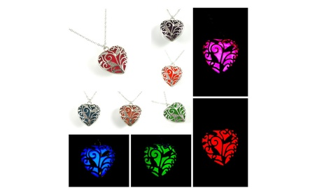 Glowing Heart Necklace Glow in The Dark Silver Necklace 1277b40e-d89a-4fc2-9031-e91a59ead487