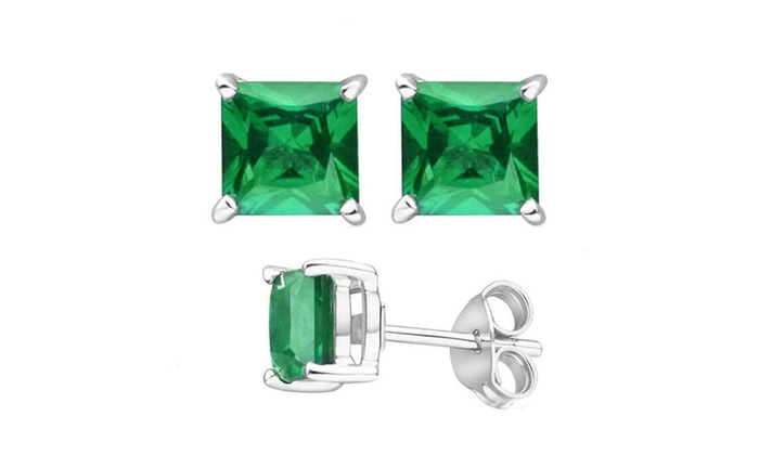 Empire Jewelry: Sterling Silver 1 Carat Princess Cut Lab-Created Stud Earrings