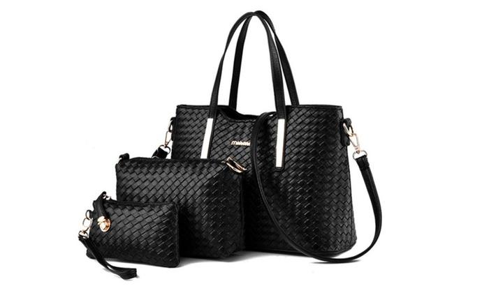 Women 3 Piece Tote Bag Pu Leat...