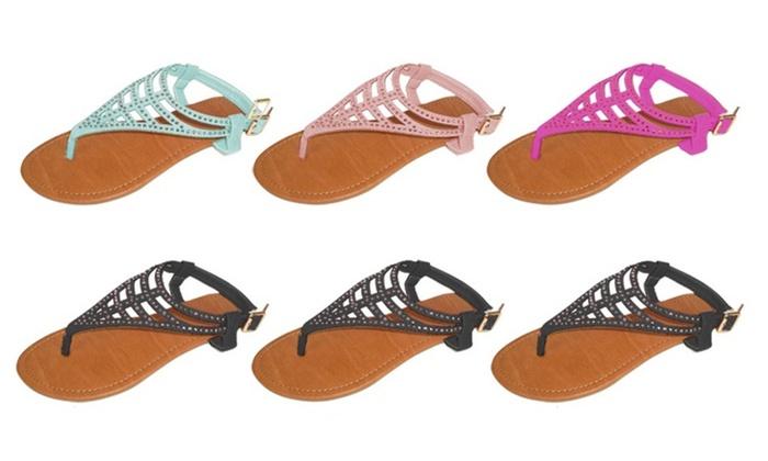 P26 Womens Sandals Flat shoes  Rhinestone Embellished
